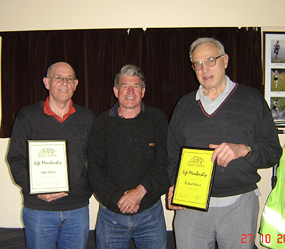 John Palmer (left) and the late Dick Harris (right) awarded Life Membership in 2010 by President Brian Watson