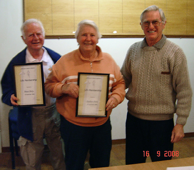 Bruce and Noeleen Perry awarded Life Membership in 2008 by Jim Blair